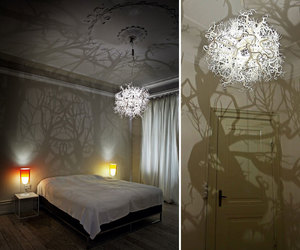bedroom, interior, and lamp image