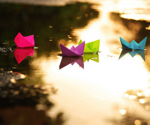boat, water, and origami image