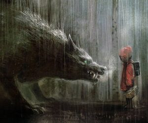 wolf, rain, and red image