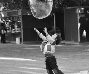 black & white, bubble, and kid image