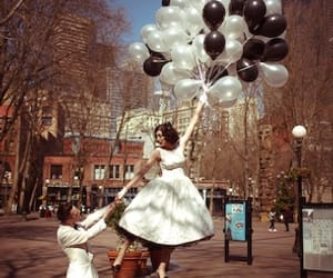 baloons, bride, and vintage image