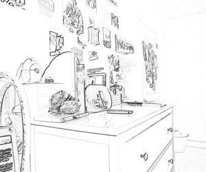 bedroom, black and white, and ipod image