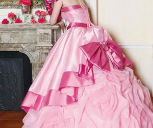 pink, dress, and wedding image