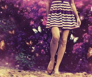 girl, butterfly, and dress image