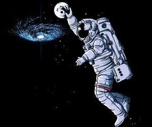 astronauta, galaxy, and moon image
