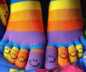 socks, smile, and colors image