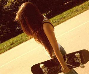 girl, skateboard, and summer image