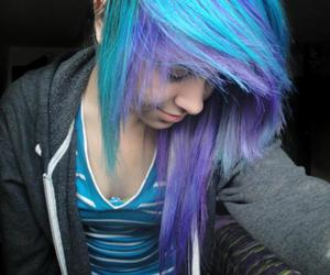 blue hair, purple hair, and girl image