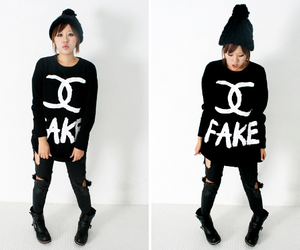 chanel, fake, and jumper image
