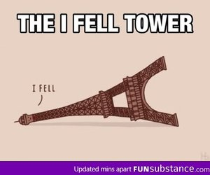 funny, fell, and paris image