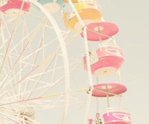 pastel, pink, and ferris wheel image