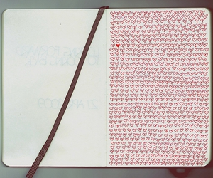hearts, diary, and notebook image