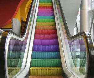 escalator, gay, and shoes image