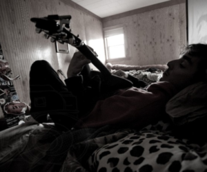 boy, snowboard, and guitar image