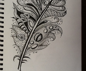 drawing, feather, and art image
