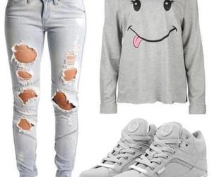 jeans, outfit, and shoes image