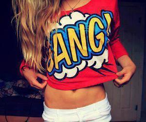 girl, bang, and red image
