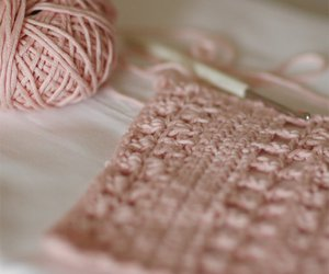 crochet, pink, and yarn image