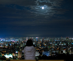 city, night, and moon image