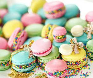 macaroons, pink, and cupcake image