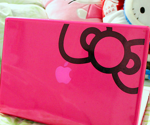 hello kitty, pink, and apple image