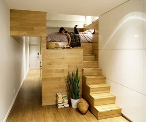 architecture, room, and bed image