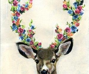 art, deer, and flowers image