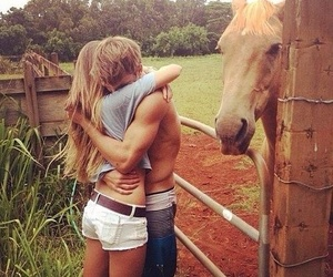 love, couple, and horse image