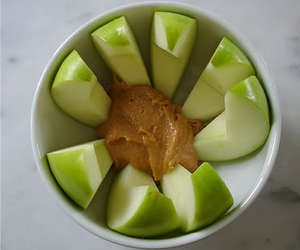 apple, green, and peanut butter image