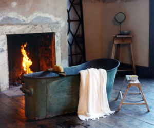 bath, bathroom, and fireplace image