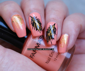 feather, gold, and cute nails image