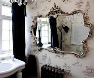 mirror, bathroom, and black image