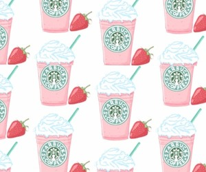 starbucks, background, and strawberry image