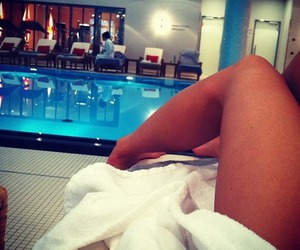 pool, legs, and summer image