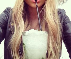 blonde, drink, and girl image