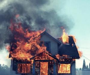 fire and house image