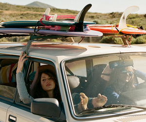 girl, car, and surf image