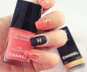 channel, pink, and nail art image