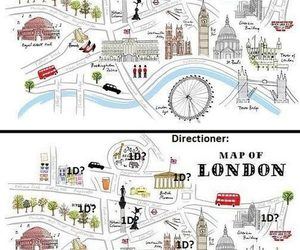 london, map, and one direction image