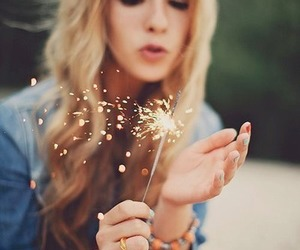 girl, blonde, and fireworks image