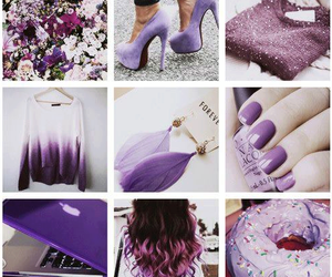purple, hair, and nails image
