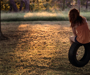girl, alone, and swing image