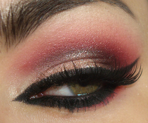 makeup, bruna tavares, and red and gold image