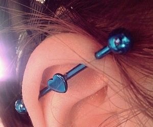 heart, piercing, and blue image