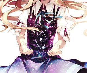 girl, anime, and galaxy image