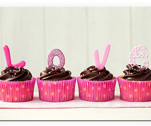 love, chocolate, and cupcake image