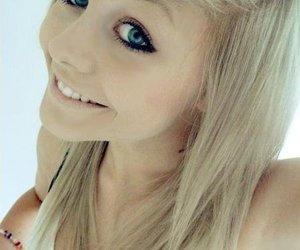 blonde, happy, and blue-eyed image