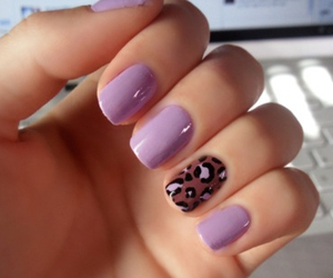 nails, purple, and animal print image