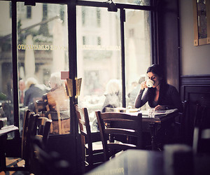 coffee, girl, and cafe image