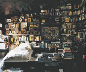 books, dark, and room image